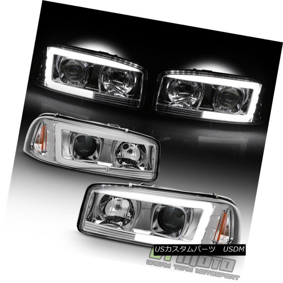 Black 1999-2006 GMC Sierra Yukon Denali LED Tube Projector Headlights Headlamps