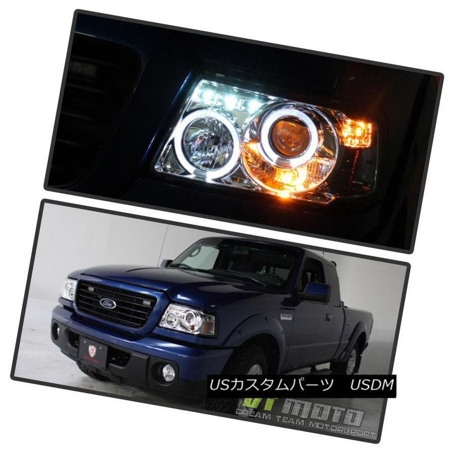 Blk 2001-2011 Ford Ranger LED Halo Projector Headlights w//Built In Corner Lamps