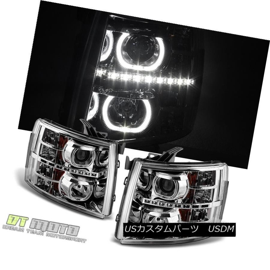 FOR CHEVY 2007-2013 SILVERADO 1500 2500 3500 BLACK LED PROJECTOR HEADLIGHT LAMP