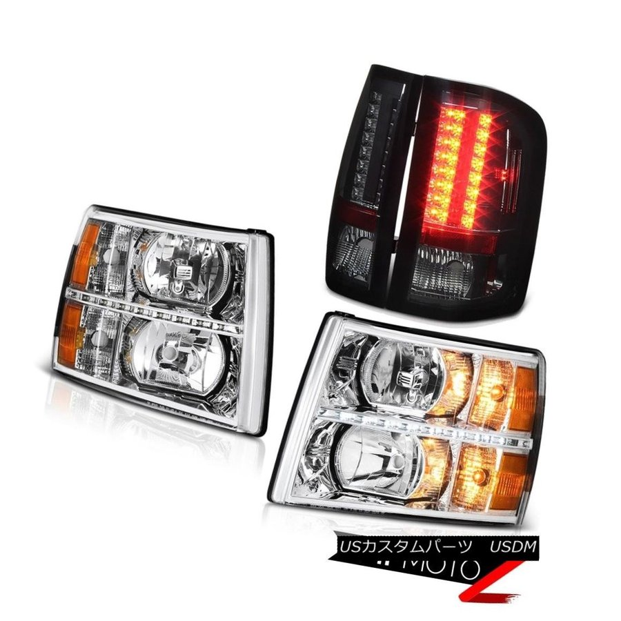 07-13 Chevy Silverado 2500HD Headlamps LED DRL Smoked Fog Lamps Tail Oe Style