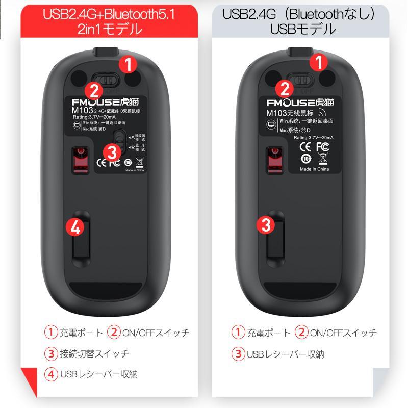 マウス ワイヤレスマウス 無線 Bluetooth 充電 充電式 小型 薄型 静音 バッテリー内蔵 usb  Mac Windows タブレット iPad Surface 光学式 ブルートゥース|usenya|12