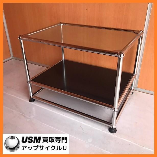 USM Haller ハラーシステム ガラス天板 ローテーブル/サイドテーブル グラファイトブラック|usm-haller-upcycle-u