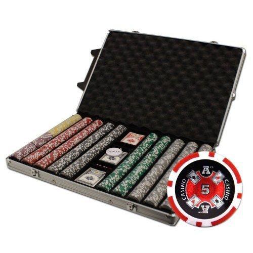 送料無料!Brybelly 1000-count Ace Casino Poker Chipセットin Rollingアルミケース、14·gm