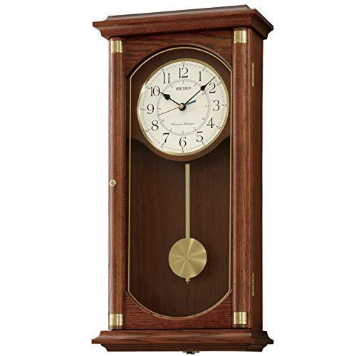 送料無料!MISC Rectangular Wall Clock with Pendulum and Dual Chimes Brown Traditional Wood Finish Automatic Chime Shut Off