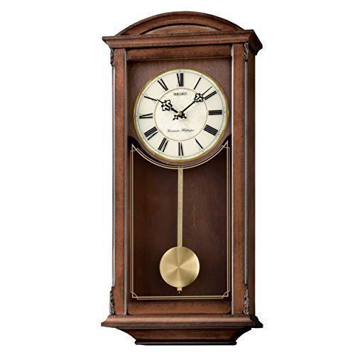 送料無料!MISC Arched Wall Clockwith Pendulum and Dual Chimes Brown Traditional Rectangular Wood Finish Automatic Chime Shut Off