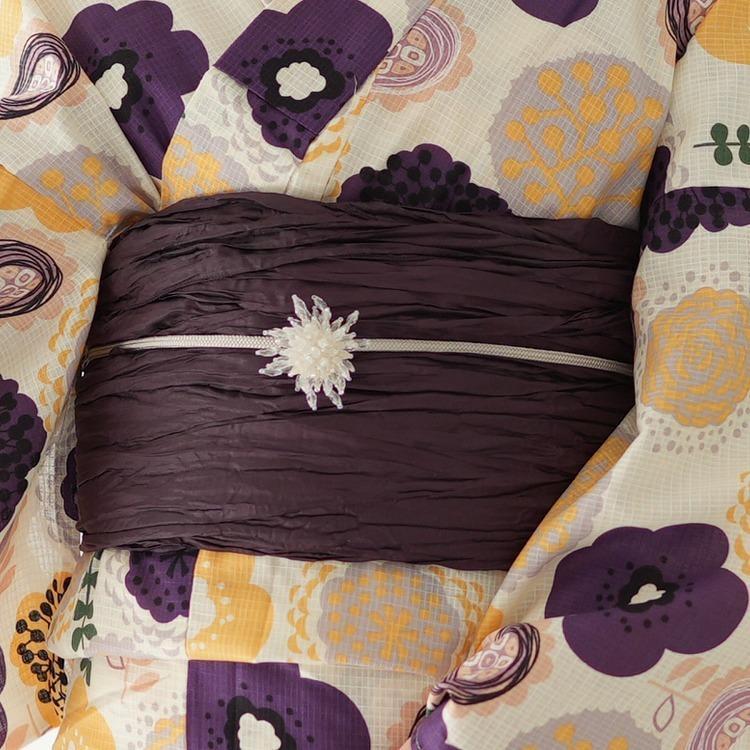 浴衣 セット【ゆったりサイズ】3点セット 浴衣/帯/下駄 3L 大きい 北欧の花 白系 紫 黄 グレー 浴衣セット ゆかた 女性 レトロ モダン 北欧ぽこぽこのお花 utatane 08