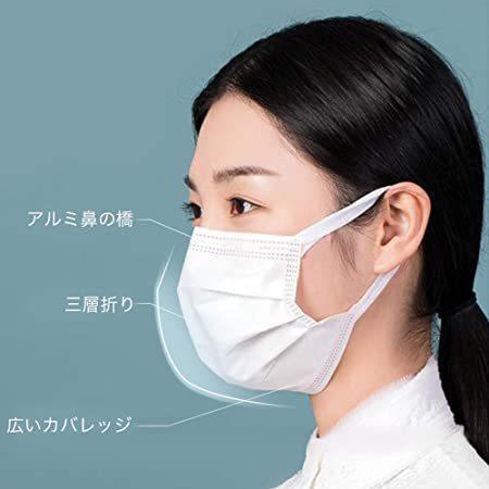 【広耳 日本国内検品】マスク 100枚入 個包装 耳痛くならない 不織布 三層構造 使い捨て プリーツ型マスク|utidenokozuchi|04