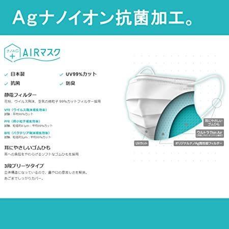 ナノAG+AIRマスク 日本製 使い捨て 不織布マスク シルク加工 銀イオン抗菌 男女兼用 高性能フィルター 耳にやさしい耳紐 花粉 BFE/VFE|utidenokozuchi|03