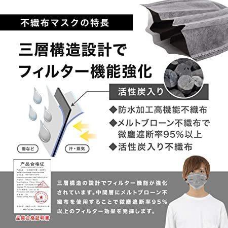 [ブランド] HOC アッシュ グレー マスク 50枚 使い捨て 個包装 3層構造 不織布マスク グレーマスク グレー utidenokozuchi 06