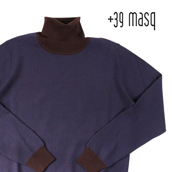 +39 masq(マスク) タートルネックセーター 9131 ダークブルー x ブラウン XL 23708dbl 【W23709】|utsubostock