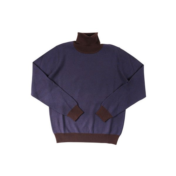 +39 masq(マスク) タートルネックセーター 9131 ダークブルー x ブラウン XL 23708dbl 【W23709】|utsubostock|02