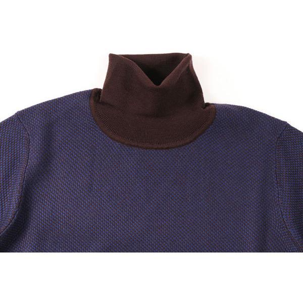 +39 masq(マスク) タートルネックセーター 9131 ダークブルー x ブラウン XL 23708dbl 【W23709】|utsubostock|03