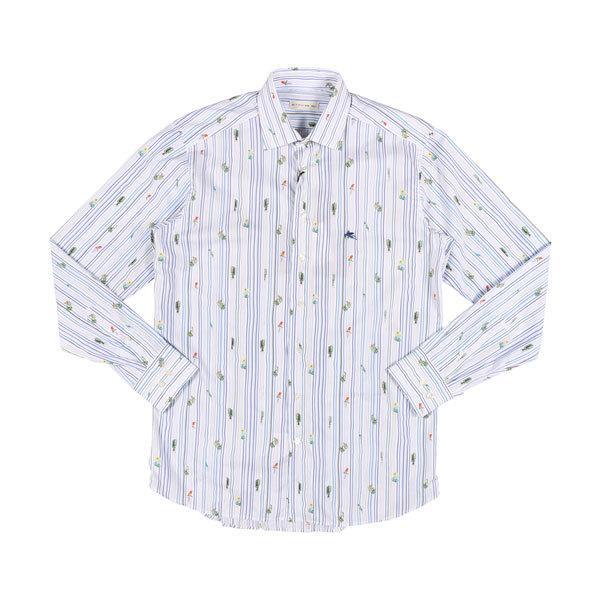 ETRO(エトロ) 長袖シャツ 1K526 5260 ホワイト x ブルー 45 25059 【A25064】|utsubostock