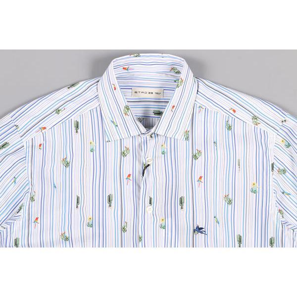 ETRO(エトロ) 長袖シャツ 1K526 5260 ホワイト x ブルー 45 25059 【A25064】|utsubostock|02