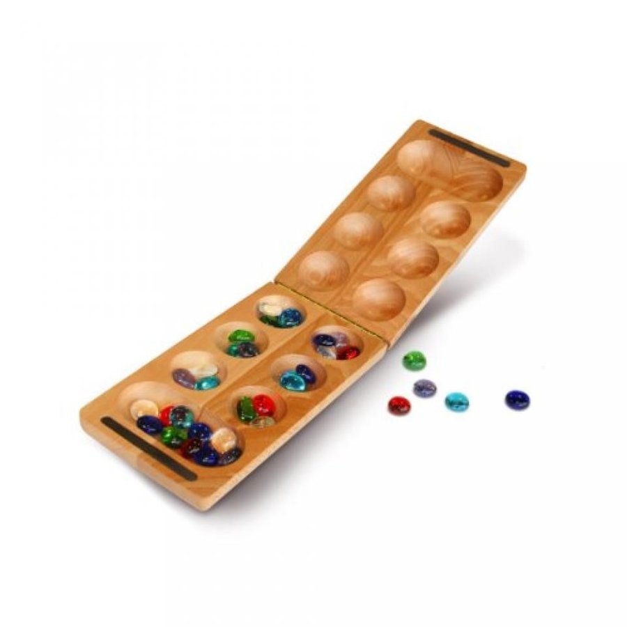 WE Games Folding Mancala - Solid Wood Board & Glass Stones 18 inches 輸入品