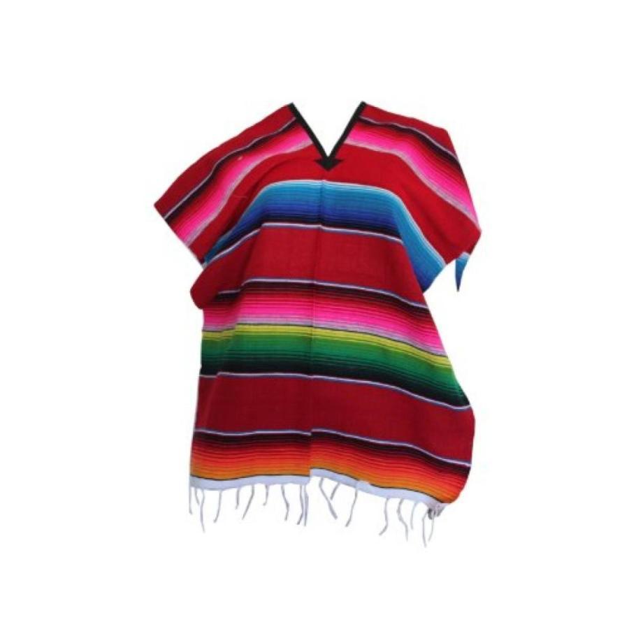 ハロウィン コスプレ 輸入品 Del Mex Youth Mexican Serape Poncho Child Costume Pancho 赤