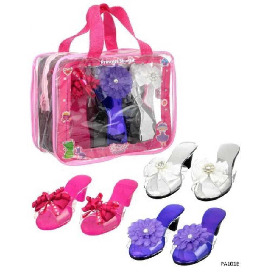 ハロウィン コスプレ 輸入品 Dress Up Princess Shoe Set- Bright Ribbon and Flower Play Time Costume Shoes - 3 Pairs (ピンク/紫の/白い)