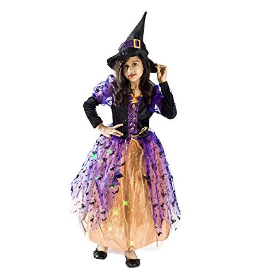 ハロウィン コスプレ 輸入品 黒 Witch Halloween Costume for Girls lightup Halloween Small Medium