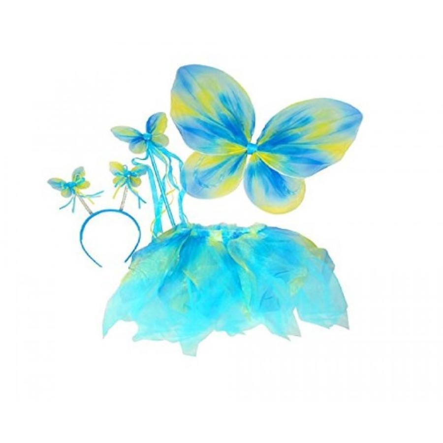 ハロウィン コスプレ 輸入品 Girl's Fairy Butterfly 4 Piece Tutu Costume Set (Neon 青)