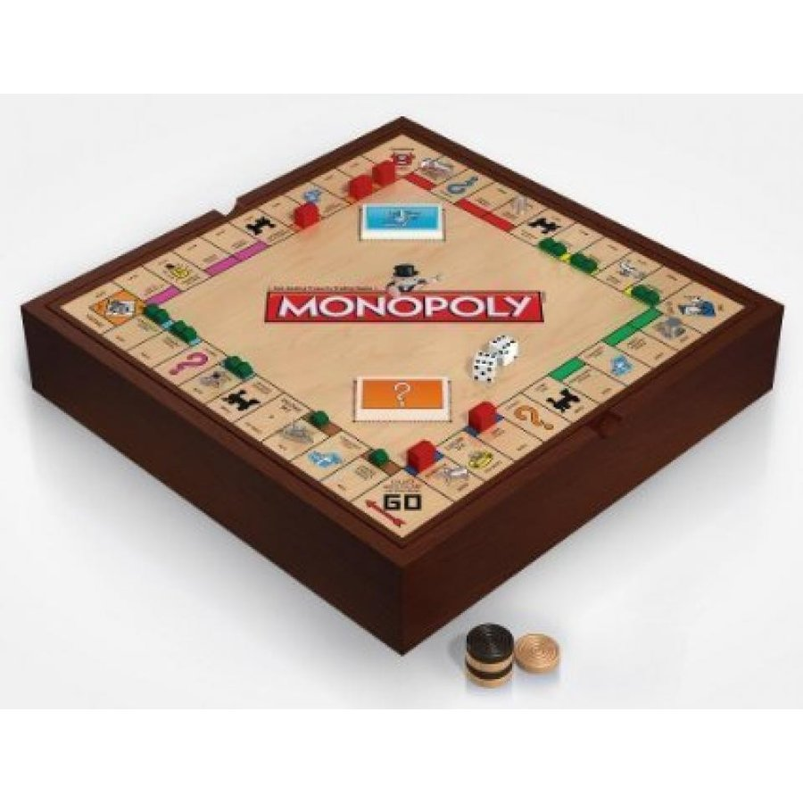 Monopoly 5-in-1 Deluxe Edition - Wooden Game Board with Chess and Checkers 輸入品