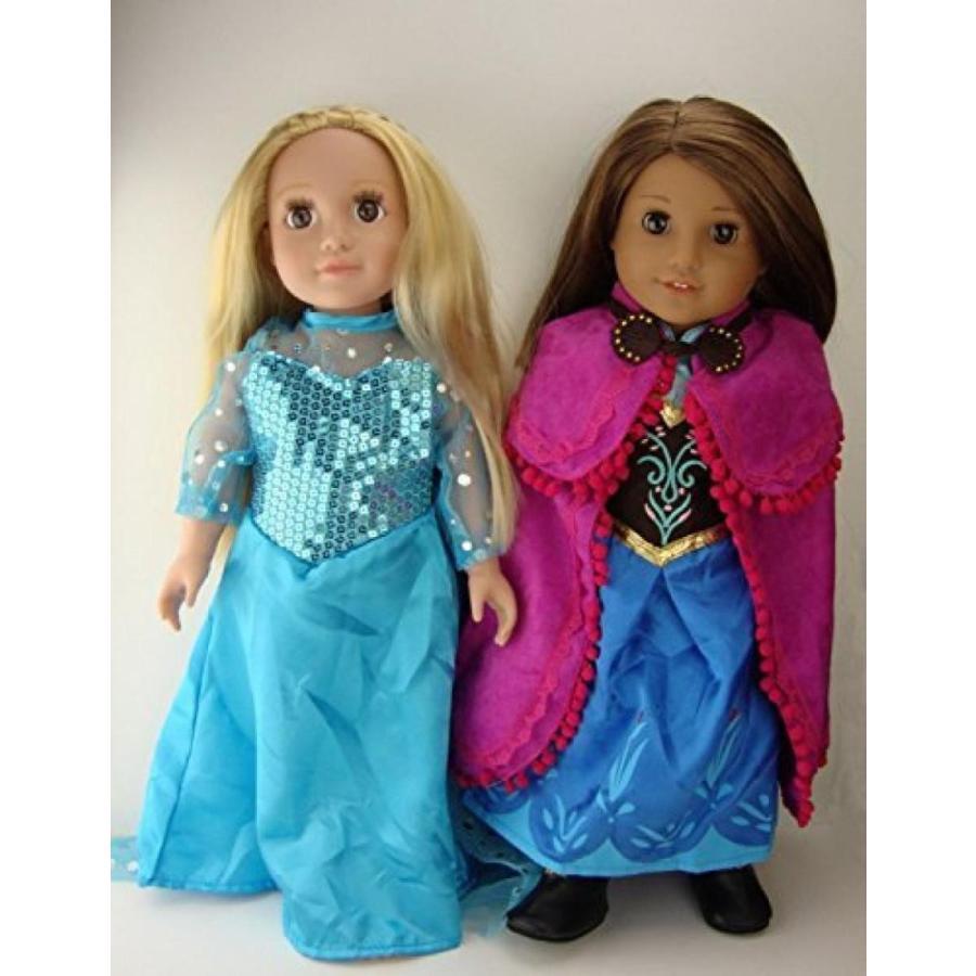 ハロウィン コスプレ 輸入品 Elsa and Anna Princess Costumes includes Anna's Cape and boots For 18 Inch American Girl Doll Clothes