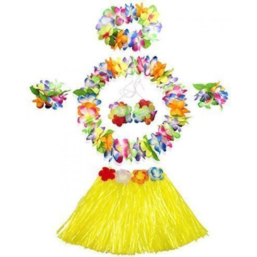 ハロウィン コスプレ 輸入品 WISDOMTOY 6- piece Holiday Christmas Party Costumes Hawaiian Hula Grass Skirt Dance Wears Clothing Set, 黄