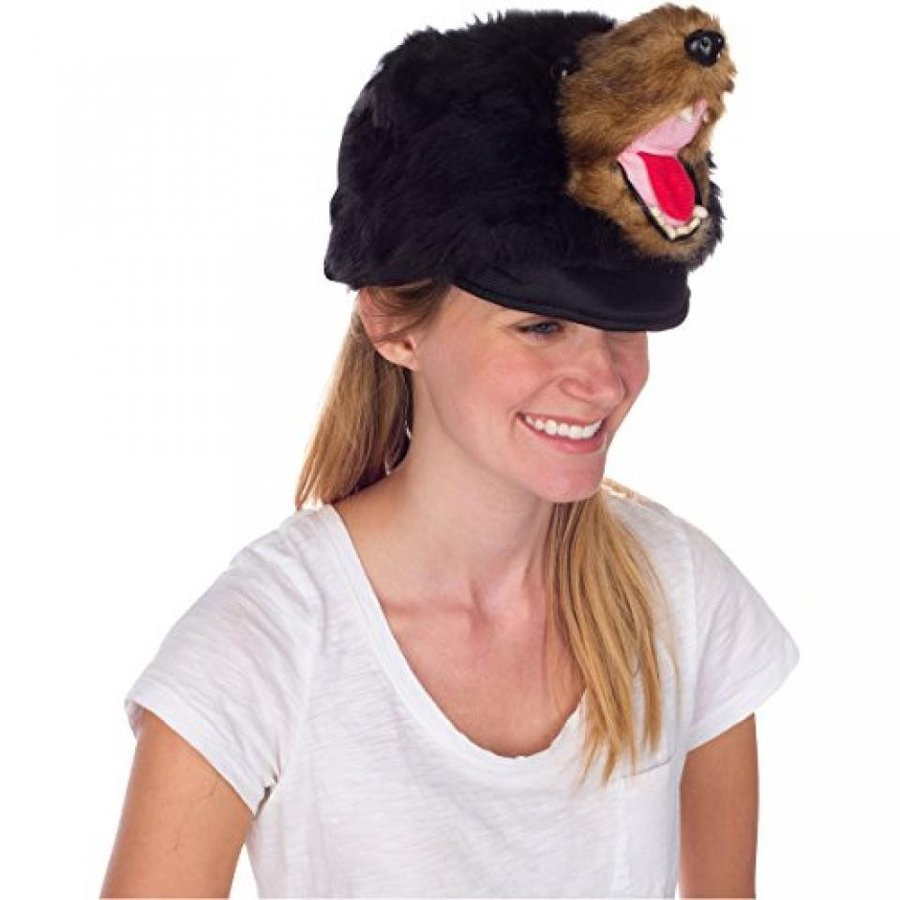ハロウィン コスプレ 輸入品 Rittle Furry 黒 Bear Animal Hat, Realistic Plush Costume Headwear, 1 Size