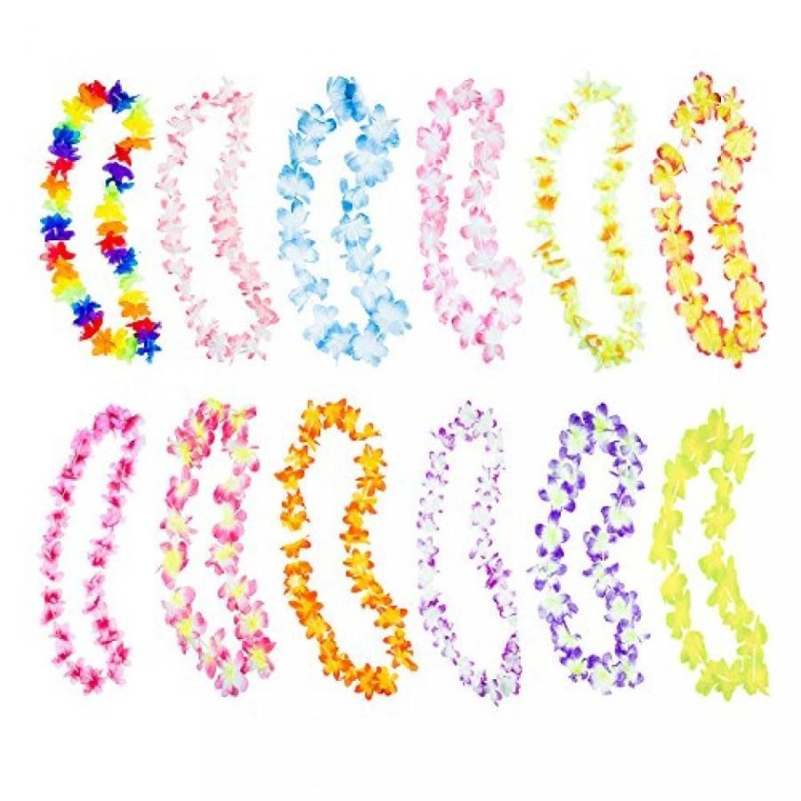 ハロウィン コスプレ 輸入品 Hawaiian Ruffled Simulated Colorful Luau Silk Flower Leis Necklaces for Tropical Island Beach Theme Party Event, Birthday