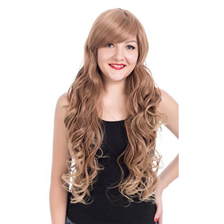 ハロウィン コスプレ 輸入品 EDENKISS Women's Fashion Long Hair Replacement Natural Curly Wavy Full Head Wigs Cosplay Costume Party Hairpiece (褐色s