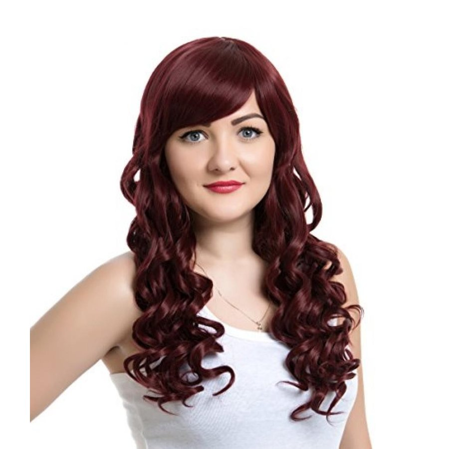 ハロウィン コスプレ 輸入品 EDENKISS Women's Fashion Long Hair Replacement Natural Curly Wavy Full Head Wigs Cosplay Costume Party Hairpiece (Wine