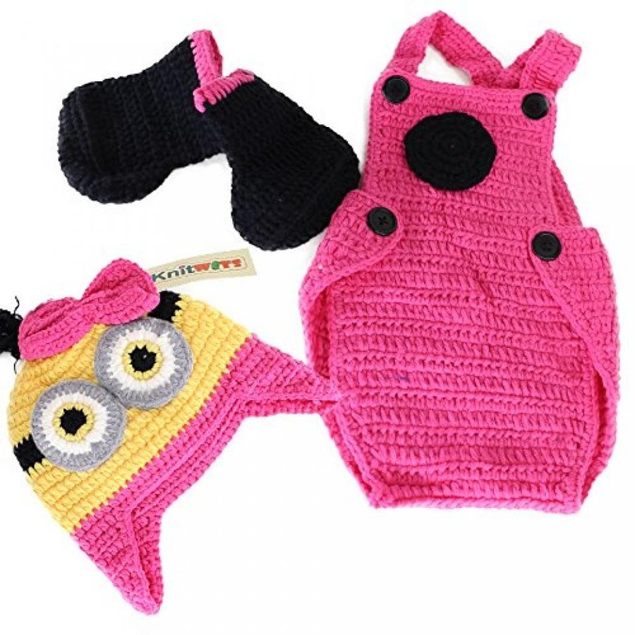 ハロウィン コスプレ 輸入品 Crochet Baby Girl Minions Hat Overalls Boots Costume Photography Prop