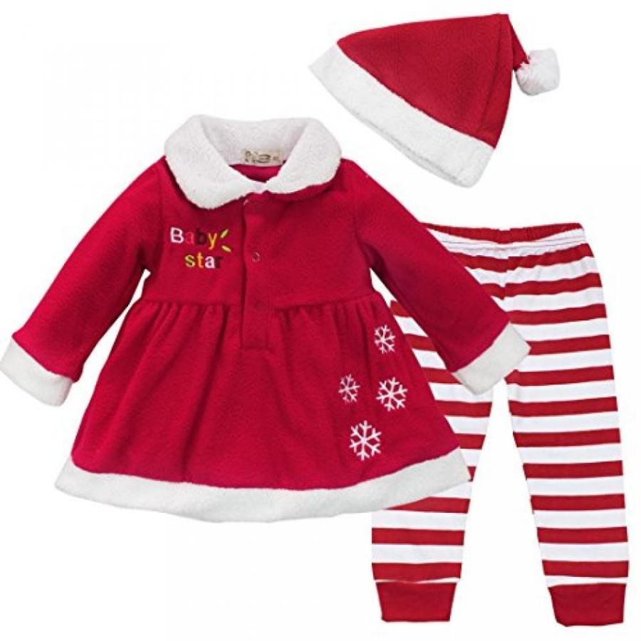 ハロウィン コスプレ 輸入品 YiZYiF Baby Girls Christmas Santa Claus Dress Leggings Hat Outfit Xmas Costume