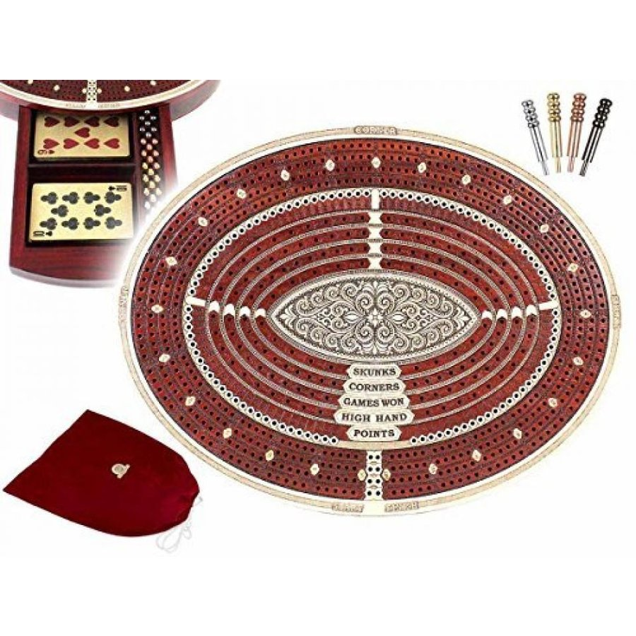 Oval Shape 4 Tracks Continuous Cribbage Board and box in Bloodwood / Maple with place for Skunks, Corners, Won Games, High Hand and Points - 11.6