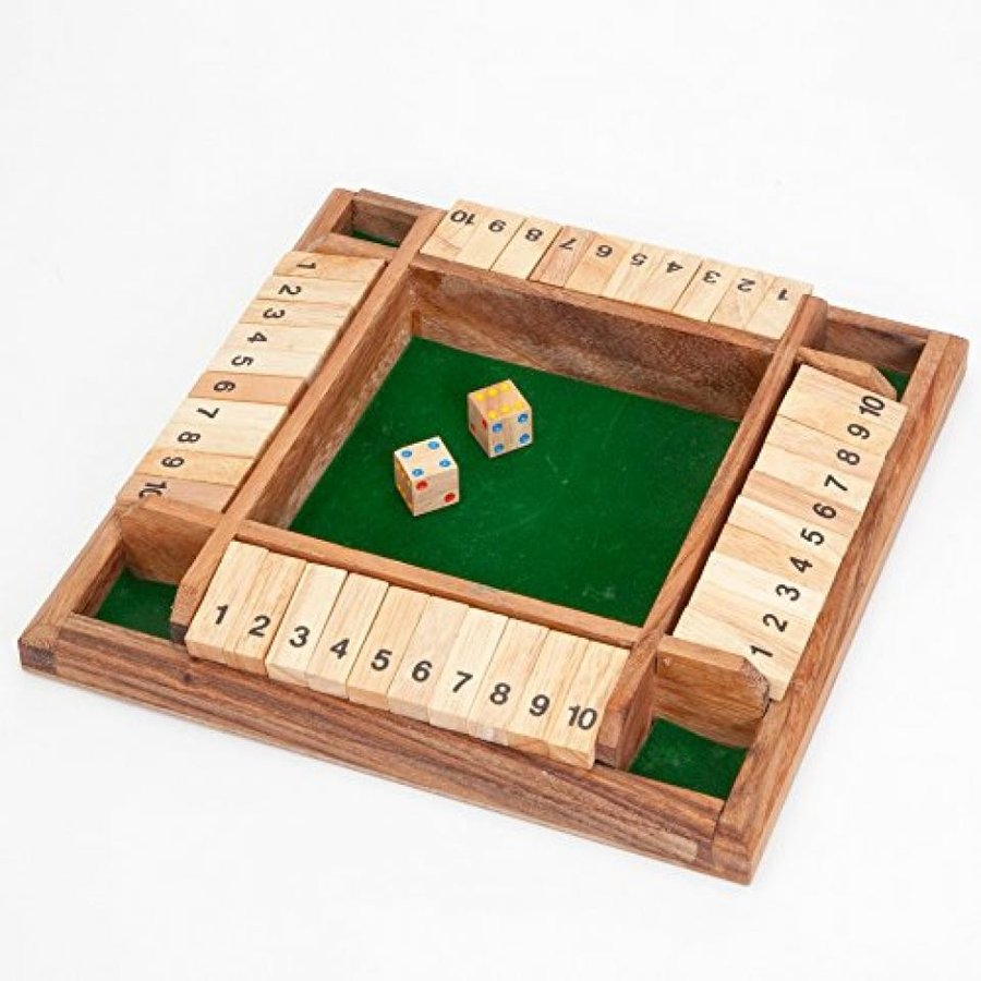 Bits and Pieces - 4 Player Shut the Box Wooden Table Game - Classic Box and Dice Board Game 輸入品