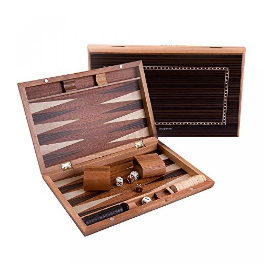 Once ZY Time 13 inch Portable Wooden Premium Backgammon Set Folding Board Game Puzzle Games Educational Toys Homeware Travel Size 褐色 Board 輸入品