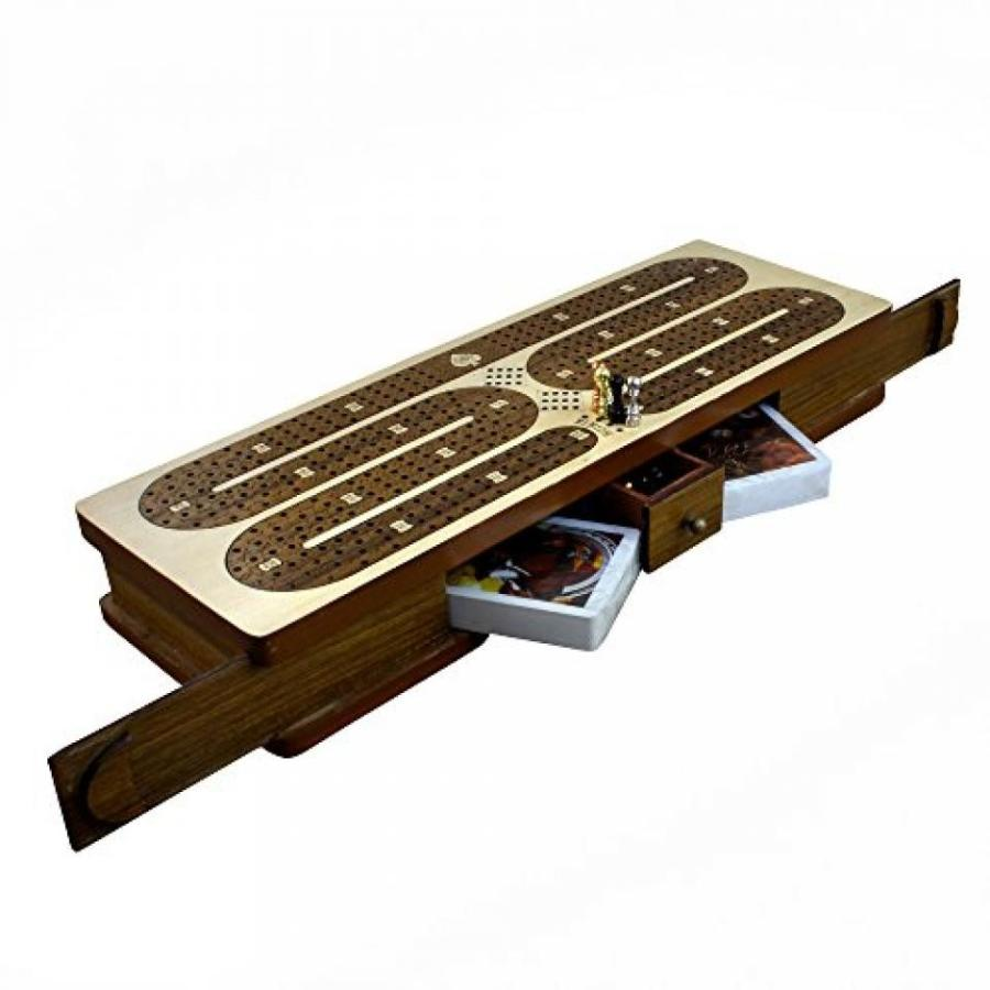 Good Friday Deals Handmade Wooden 4 Track Cribbage Board Game Set with 12 Metal Pegs, 2 Decks Of Cards, 12 Metal Pegs With Storage 輸入品