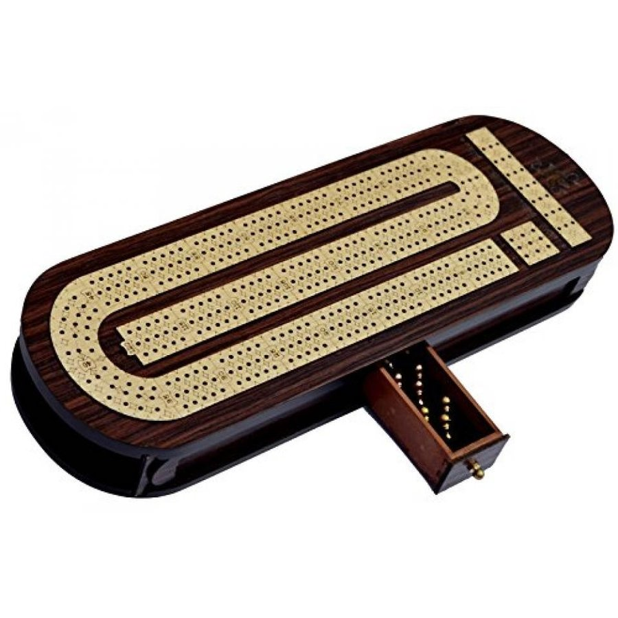 Christmas Gifts 3 Track Cribbage Board Game Set with 9 Metal Pegs, 2 Decks Of Cards, 9 Metal Pegs With Storage 輸入品