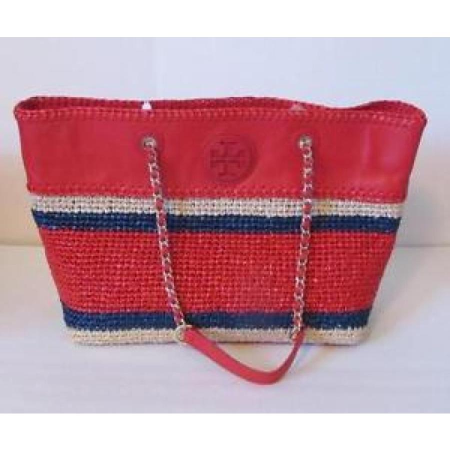 トリーバーチ バッグ 輸入品 Tory Burch Marion crochet straw tote Ruby Jewel 赤 navy bag chain east west