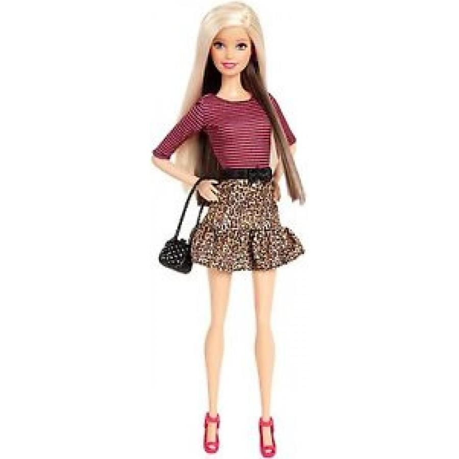 バービー おもちゃ 2015 BARBIE FASHIONISTAS Animal Print Skirt With Long Blonde Hair 黒 Purse 輸入品