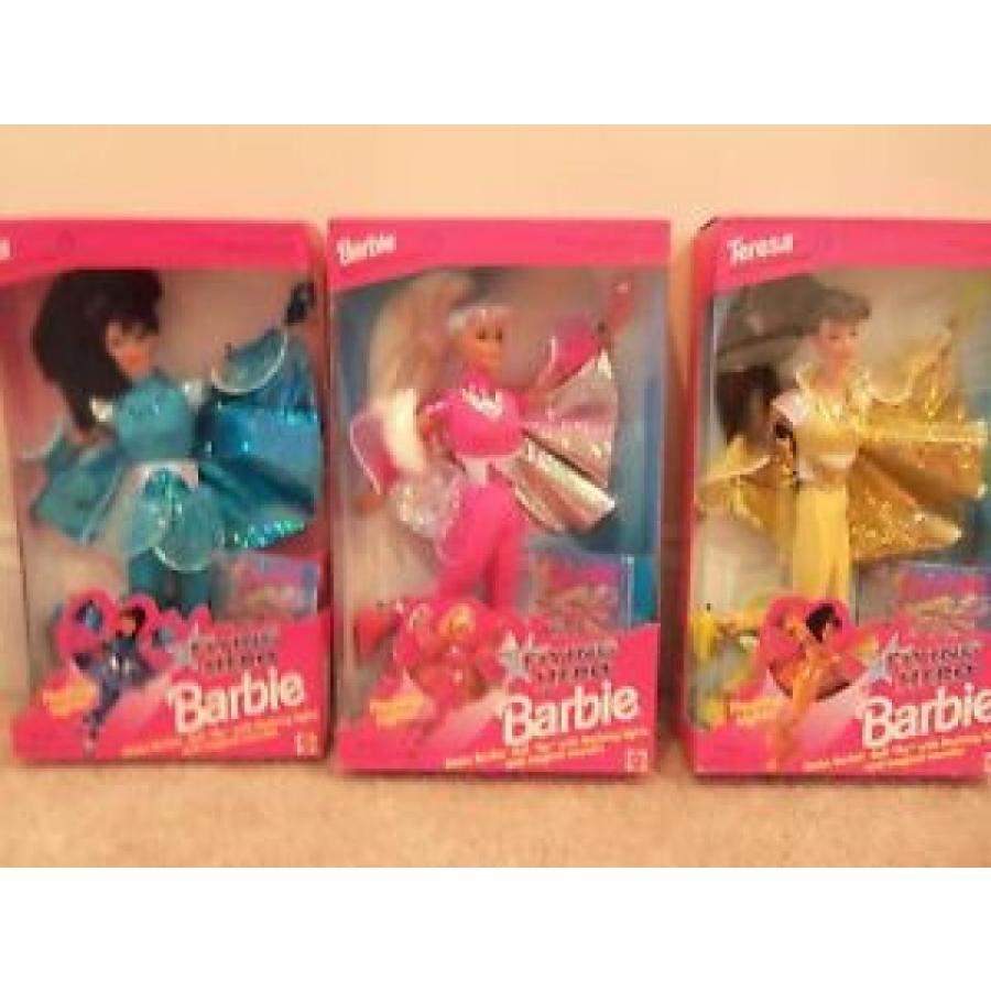 バービー おもちゃ NEW LOT 3 FLYING HERO DOLLS~黄 TERESA 1431~ピンク BARBIE~TURQ KIRA~FLASHING L 輸入品