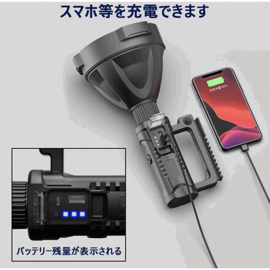 懐中電灯  LED USB充電式 超高輝度 4つ調光モード 三脚スタンド付き IP65防水 8000mAhバッテリー内蔵 モバイルバッテリー機能 LED懐中電灯 サーチライト|uuu-shop|02