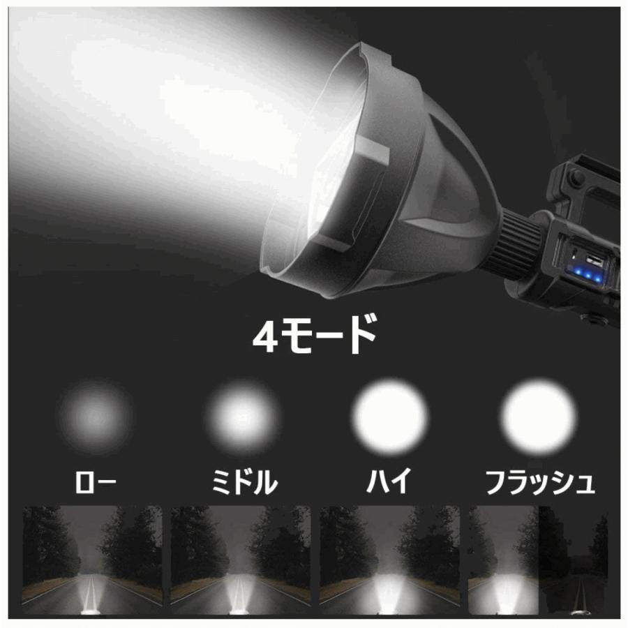 懐中電灯  LED USB充電式 超高輝度 4つ調光モード 三脚スタンド付き IP65防水 8000mAhバッテリー内蔵 モバイルバッテリー機能 LED懐中電灯 サーチライト|uuu-shop|04