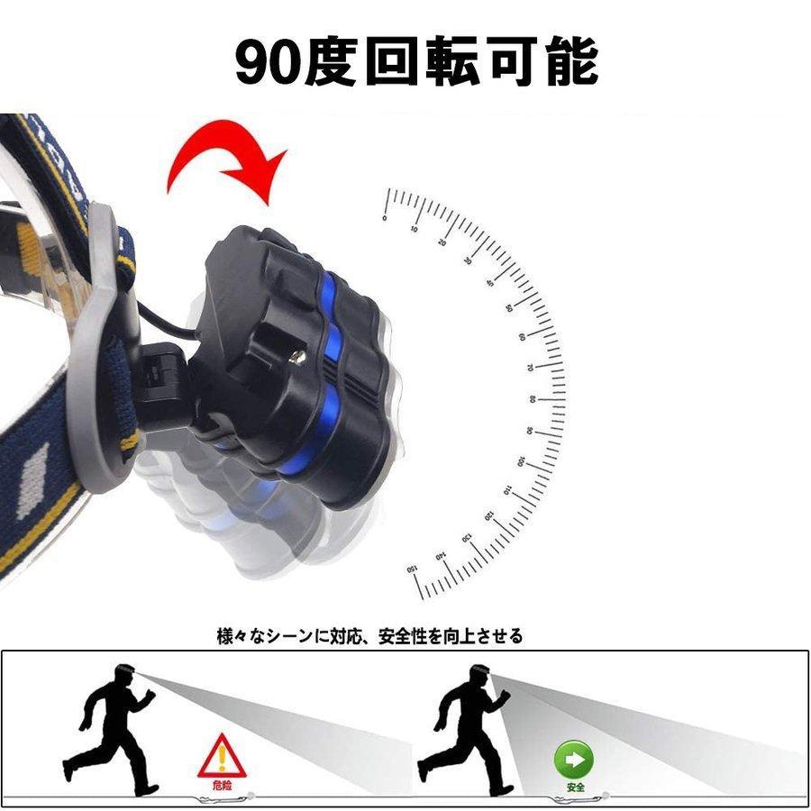 ヘッドライト led 充電式 ヘッドランプ - 軽量 防水 90度調節可能 高輝度 18650型バッテリー 夜釣り 停電時用 登山 アウトドア作業用|uuu-shop|05