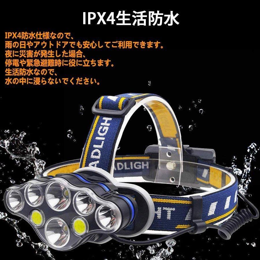 ヘッドライト led 充電式 ヘッドランプ - 軽量 防水 90度調節可能 高輝度 18650型バッテリー 夜釣り 停電時用 登山 アウトドア作業用|uuu-shop|08