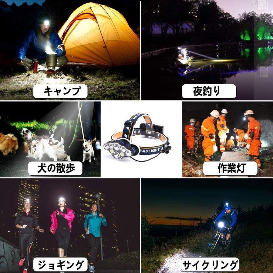 ヘッドライト led 充電式 ヘッドランプ - 軽量 防水 90度調節可能 高輝度 18650型バッテリー 夜釣り 停電時用 登山 アウトドア作業用|uuu-shop|09