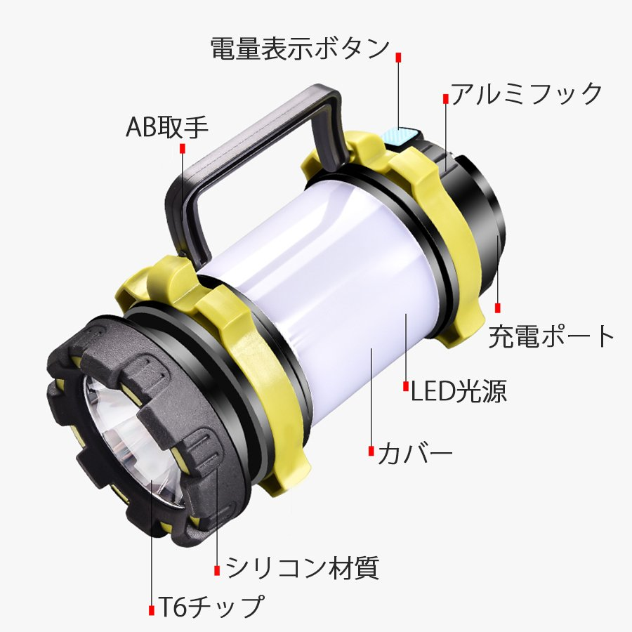 LED ランタン 懐中電灯  高輝度チップ搭載 USB充電式  モバイルバッテリー機能 6つ点灯モード 無段階調光 防滴 キャンプ 登山 釣り 防災 停電 緊急 非常用|uuu-shop|02