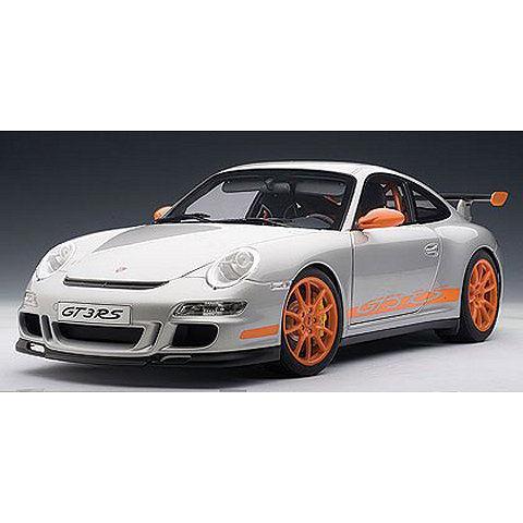 ポルシェ 911 (997) GT3 RS シルバー/オレンジストライプ (1/12 オートアート12119)