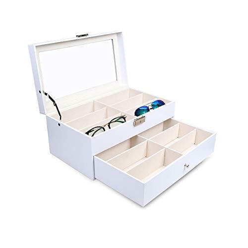 Goetland 眼鏡 メガネ サングラス 収納 ケース ボックス コレクション 展示用 ガラス天板 大容量 12本(二段式)|value-jp