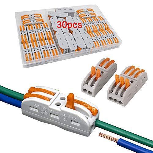 FULARRR 30個 プレミアム レバーナットワイヤコネクタ、導体コンパクトワイヤコネクタ、ワンタッチコネクター (20個 SPL-2 / 10個|value-jp