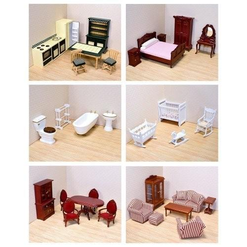 Melissa & Doug Deluxe Doll-House Furniture Bundle - Living Room Set, Kitchen, Bedroom, Bathroom, Nur